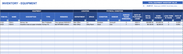 Office Supply Inventory Spreadsheet Example