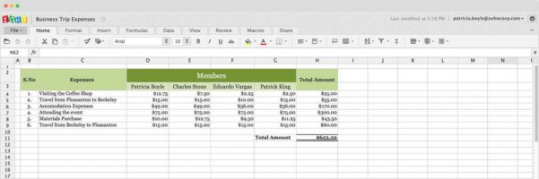 Online Budget Spreadsheet