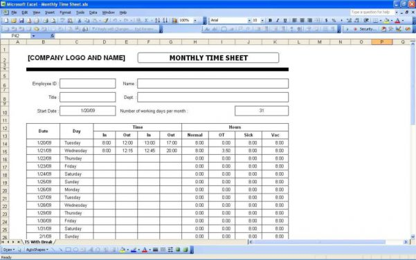 Payroll Spreadsheet With Overtime