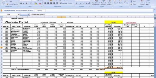 Payroll Worksheetls Payroll Spreadsheet Spreadsheet Templates for ...