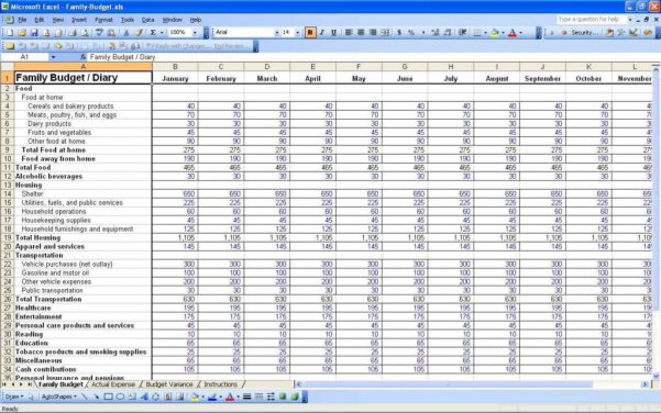 Personal Monthly Budget Spreadsheet Template