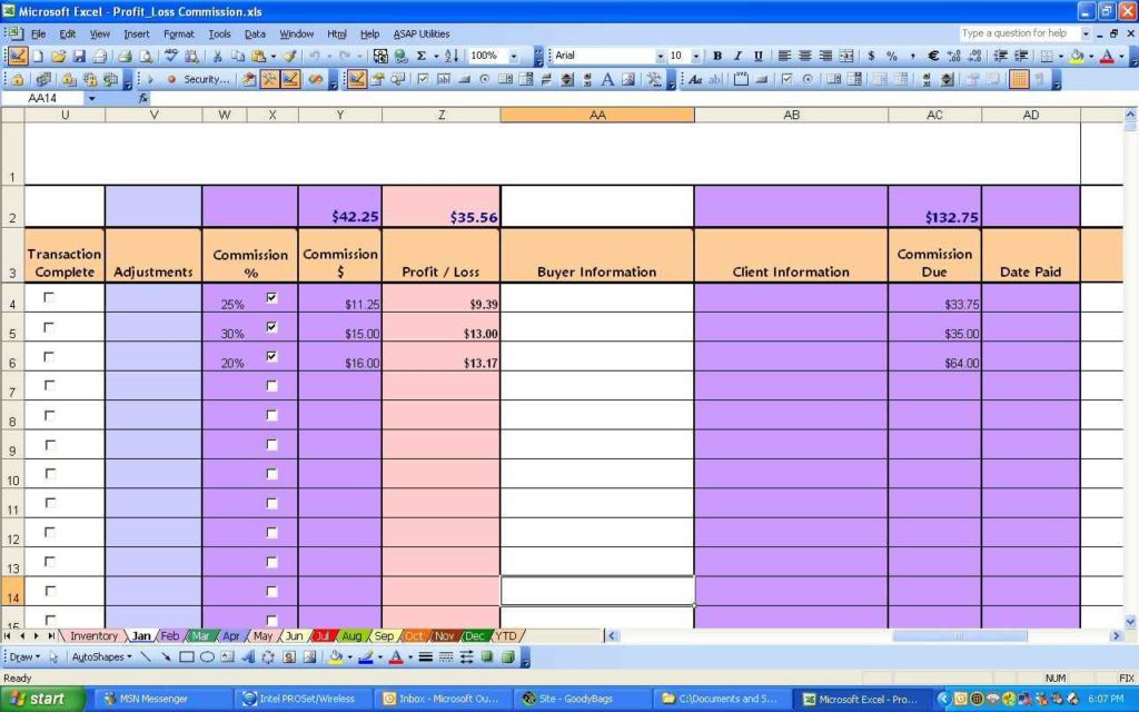 excel spreadsheet profit and loss templates