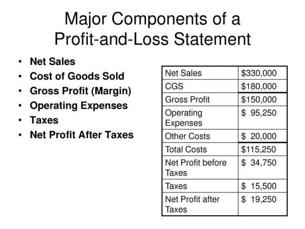 Profit And Loss Template Word