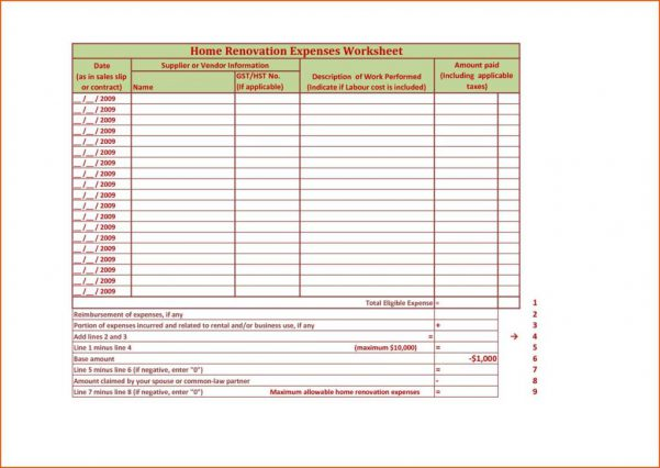 Renovation Excel Spreadsheet Template