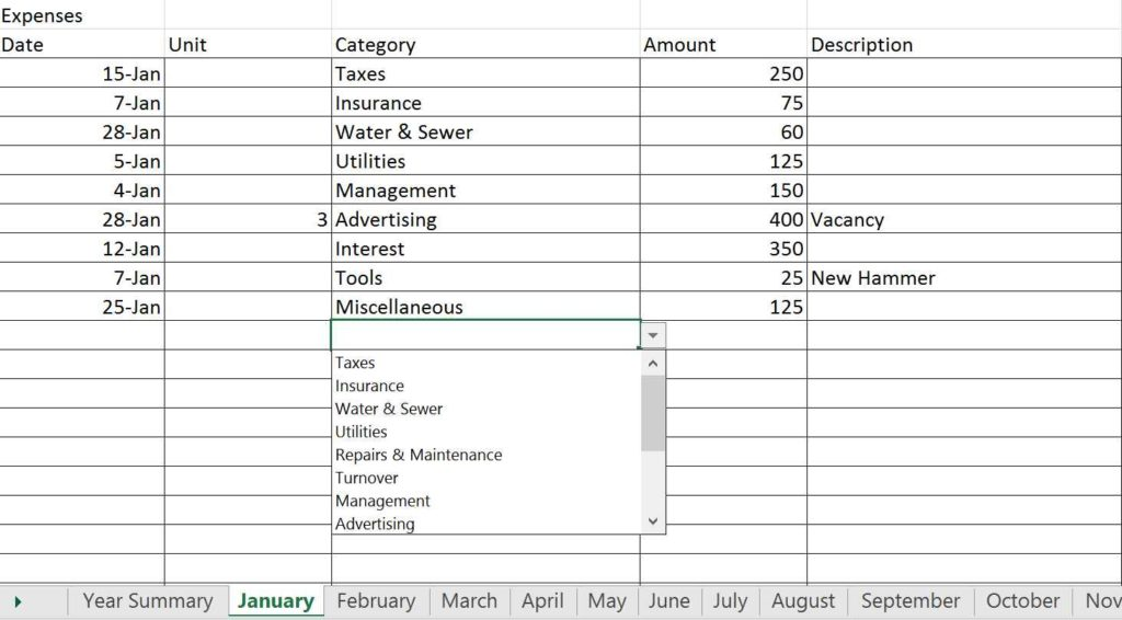 Rental property spreadsheet rental property spreadsheet for Rental property income statement template