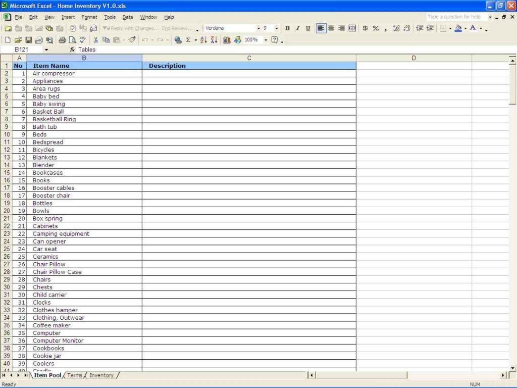 sample inventory sheet for restaurant