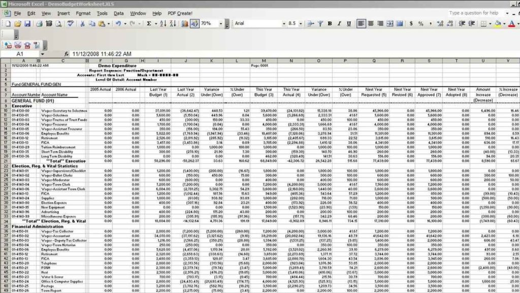 Sample Accounting Excel Spreadsheet