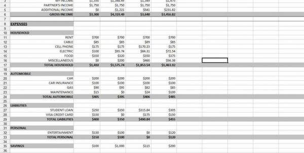 Sample Business Budget Worksheet