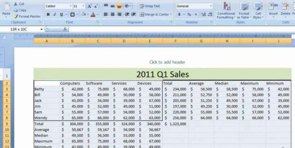 Sample Excel Sheet For Budgeting