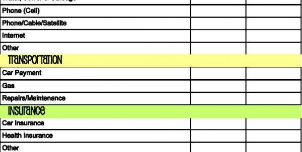 Sample Home Budget Spreadsheet