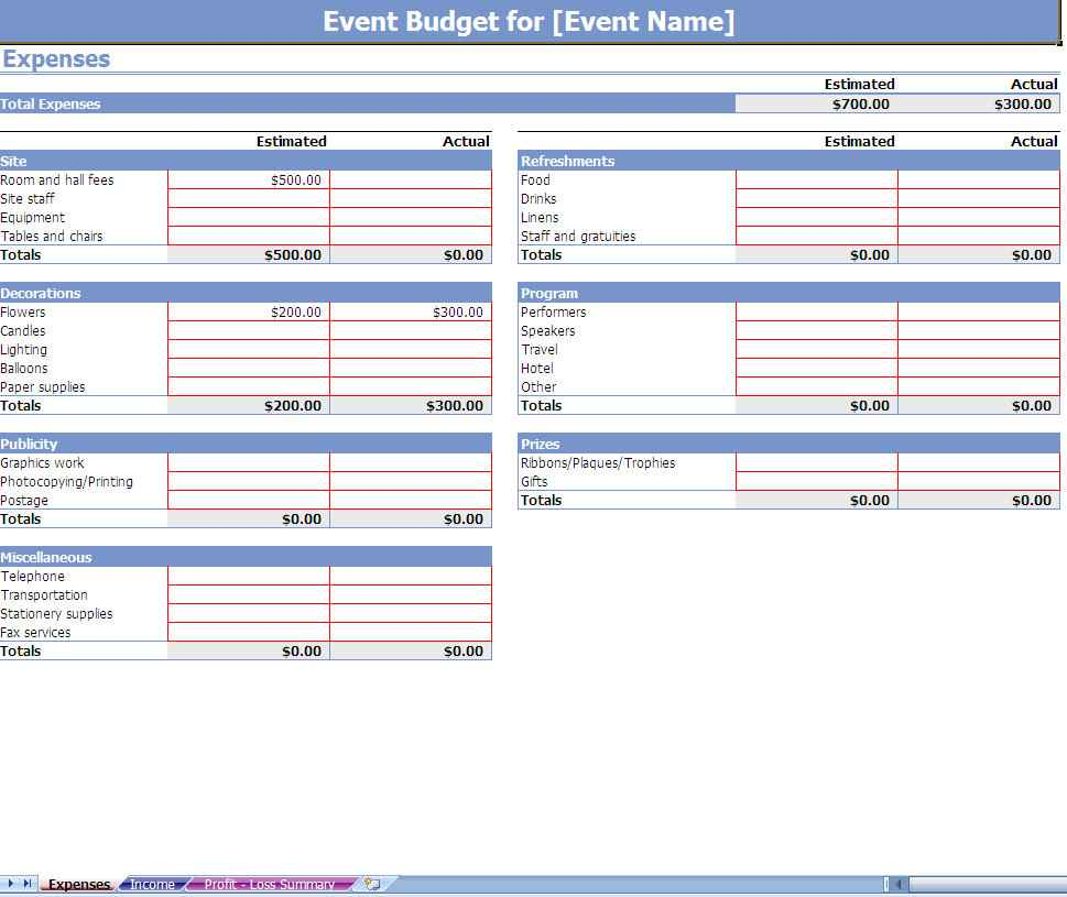 home expense worksheet