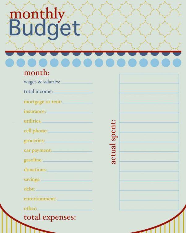 Sample Household Budget Sheet