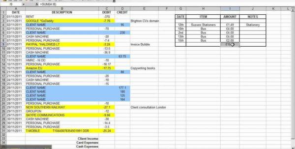 Sample Spreadsheet For Small Business