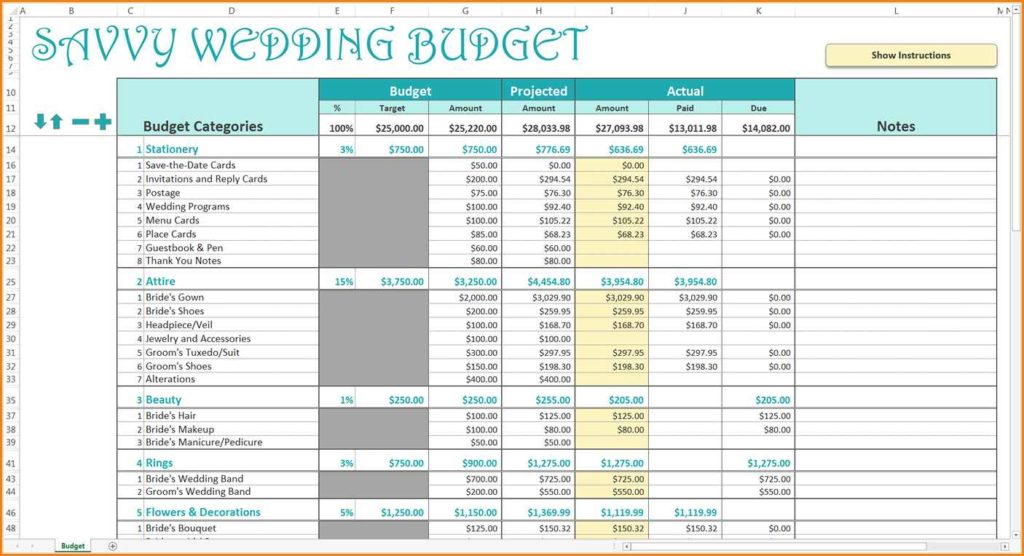 Sample Wedding Budget Spreadsheet