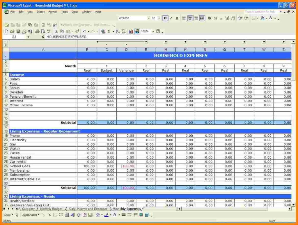 Worksheets Monthly Budget Worksheet Excel samples of monthly budget spreadsheet sample home forecast church template excel free of