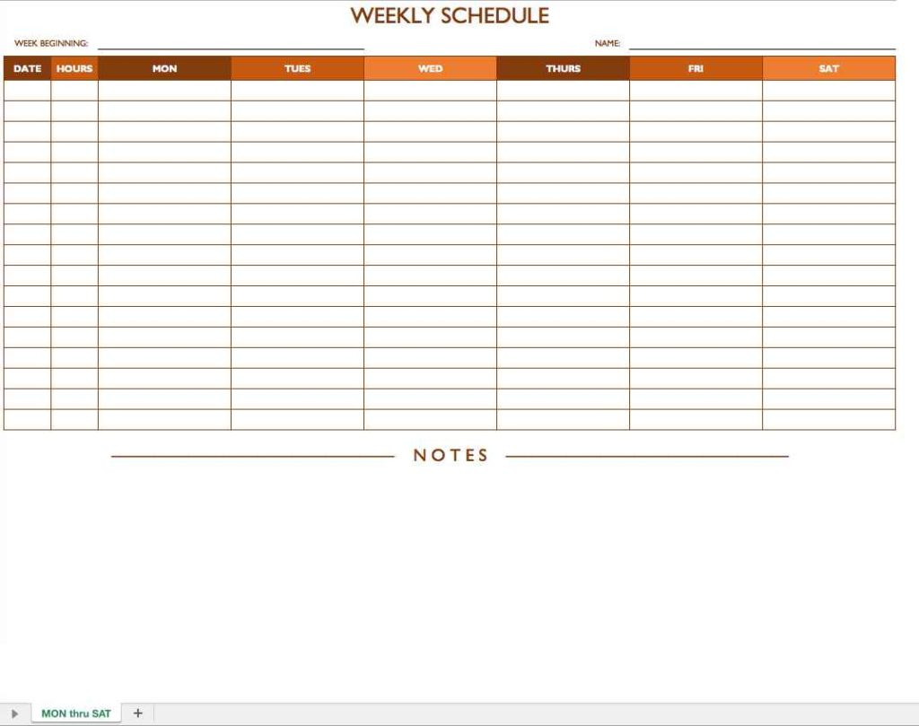 Schedule Format Template
