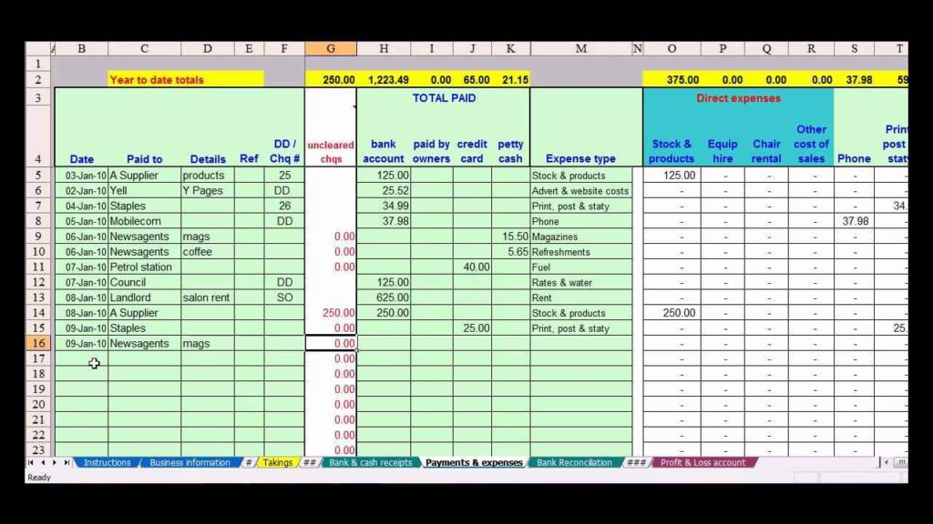 Simple Small Business Accounting Spreadsheet