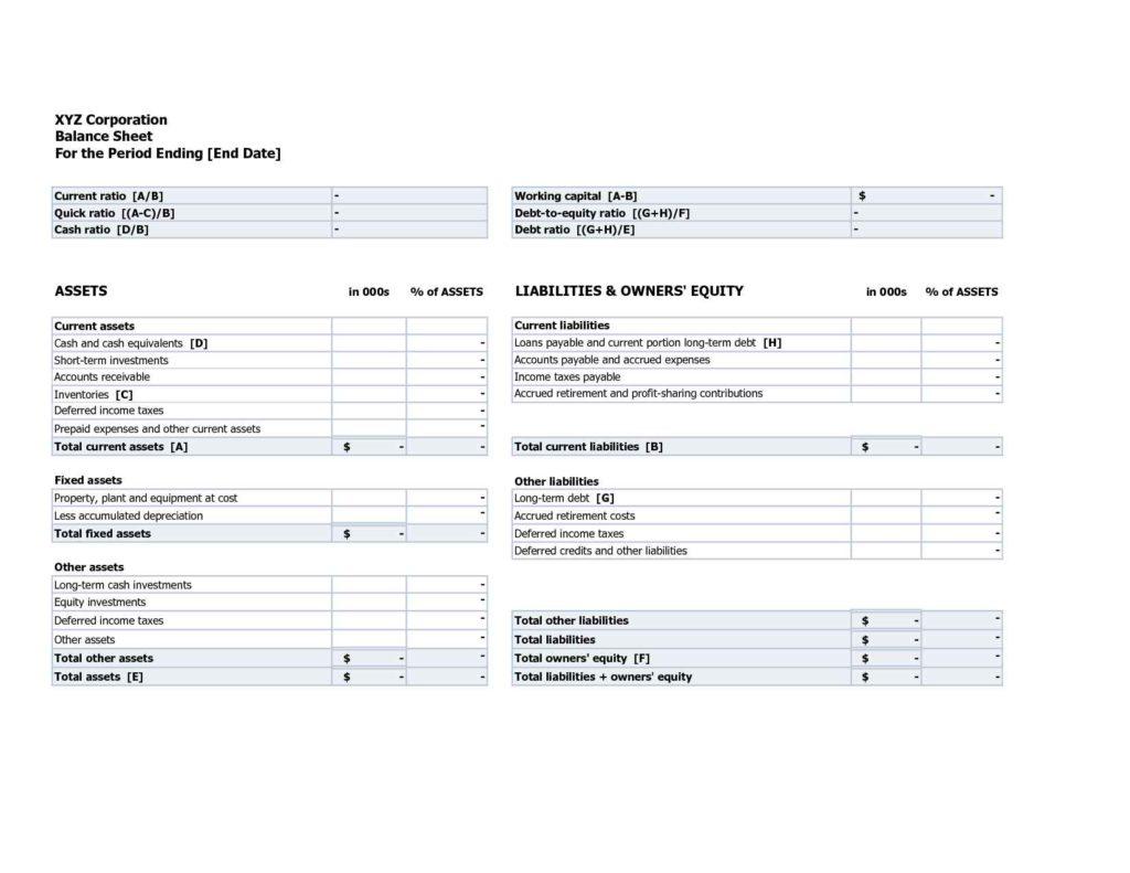 trial balance sheet template