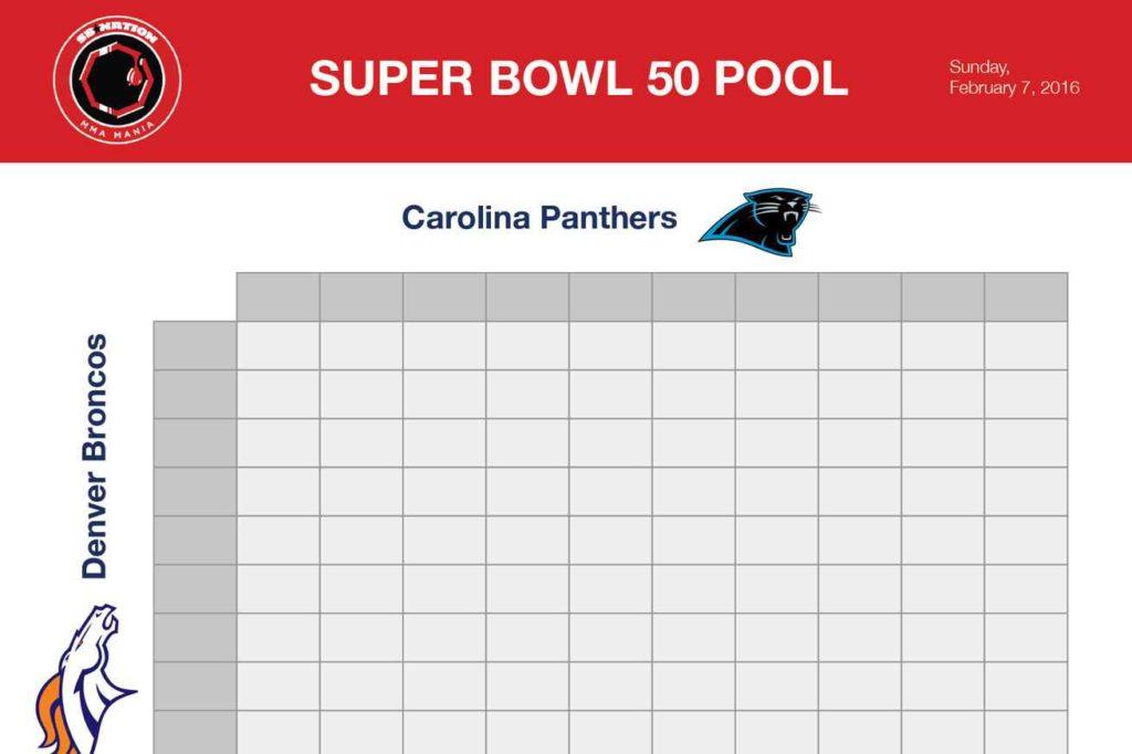Super Bowl Squares Spreadsheet