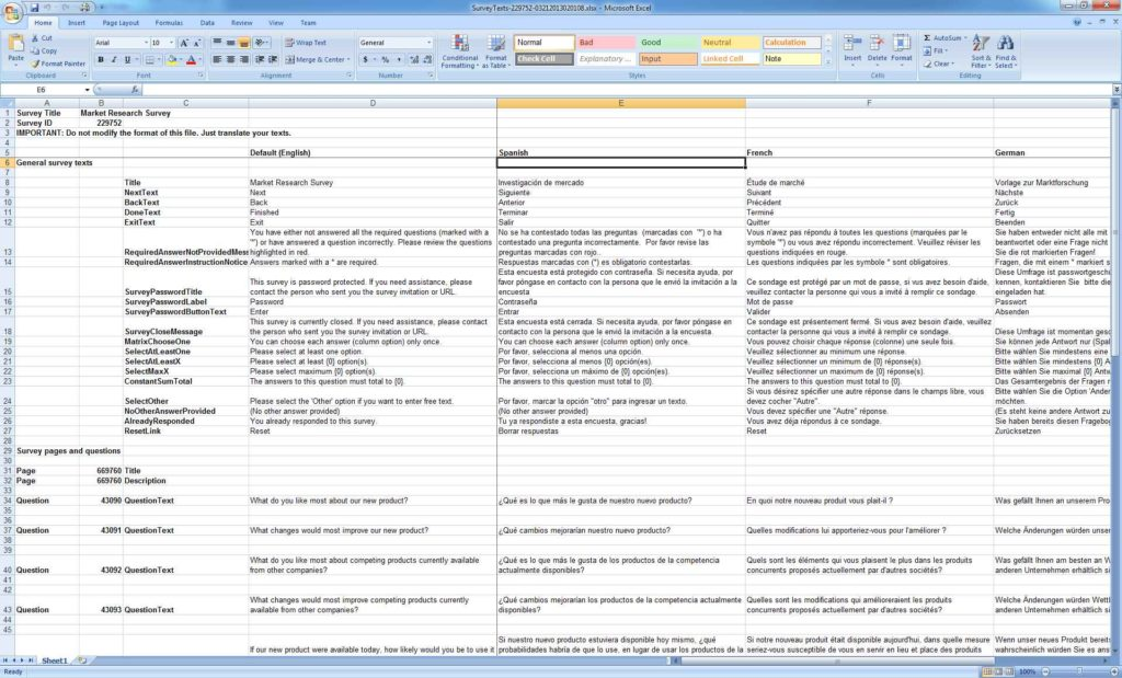 Survey Template Excel Spreadsheet1