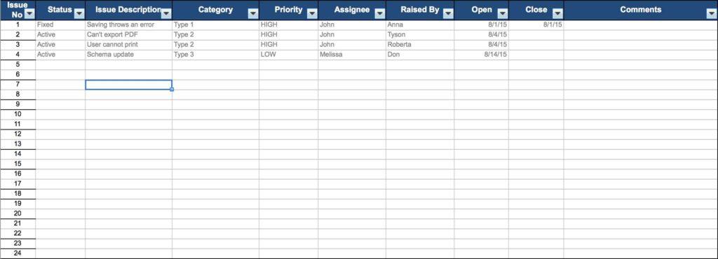 Task Tracking Spreadsheet Template