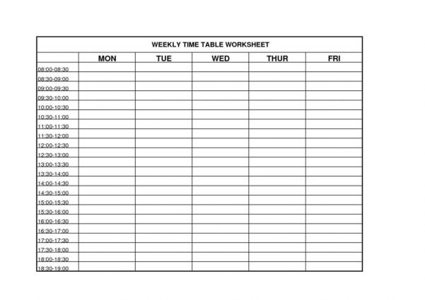 Time Management Sheets Template