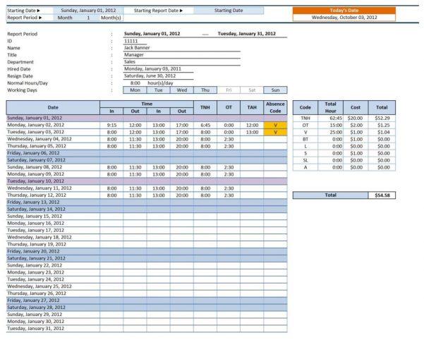 Timesheet Calculator Template