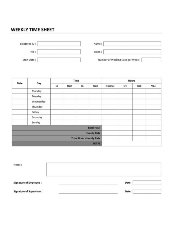 Timesheet Invoice Template Word