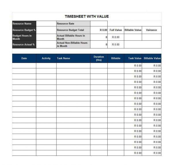 Timesheet Spreadsheet Excel