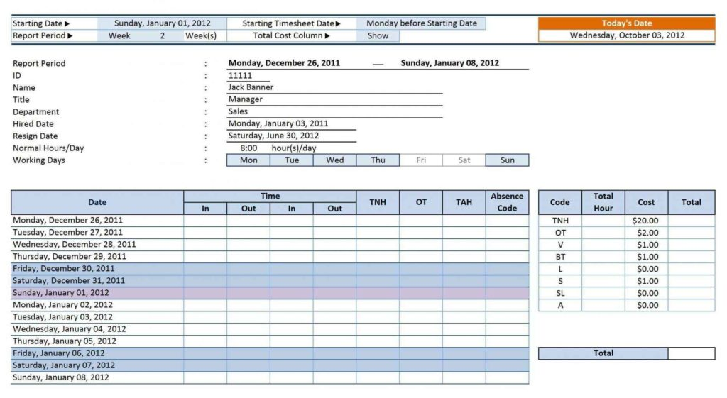 Timesheet Template For Contractors