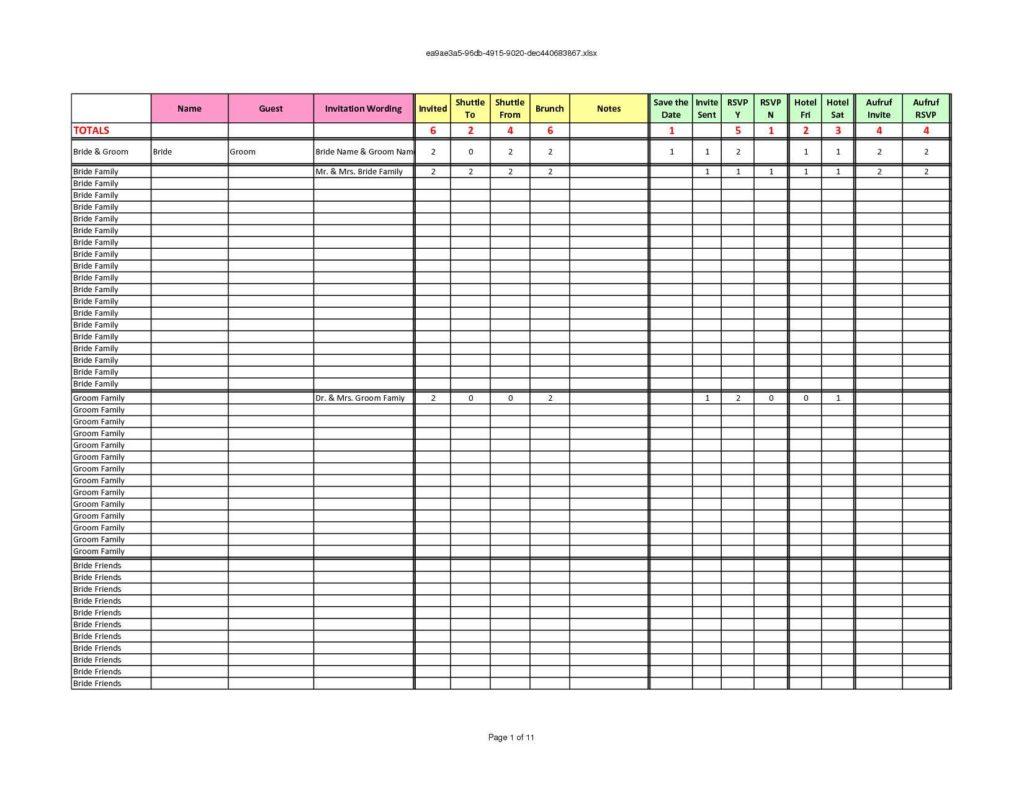 Wedding Budget Breakdown Spreadsheet