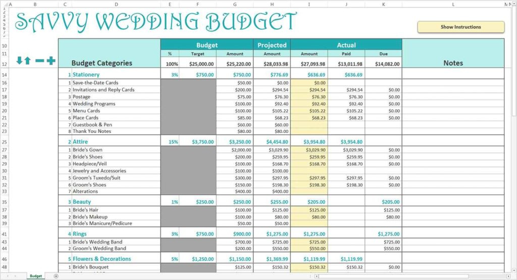 Wedding Checklist And Budget Spreadsheet Excel South Africa