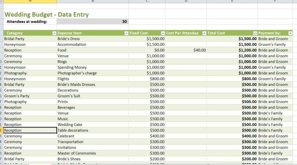 Wedding Budget Planner Spreadsheet
