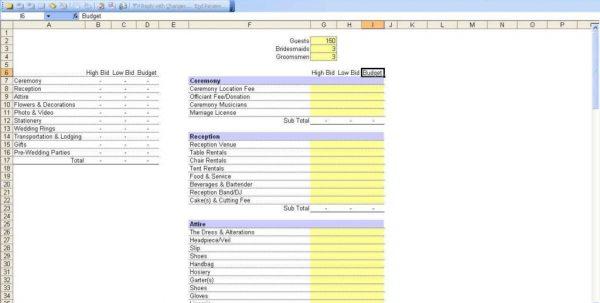 Wedding Budget Spreadsheet