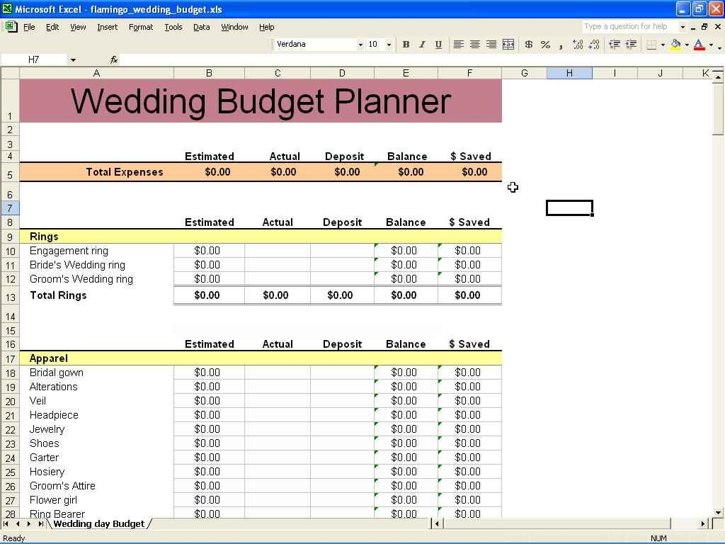 Wedding Budget Spreadsheet Australia