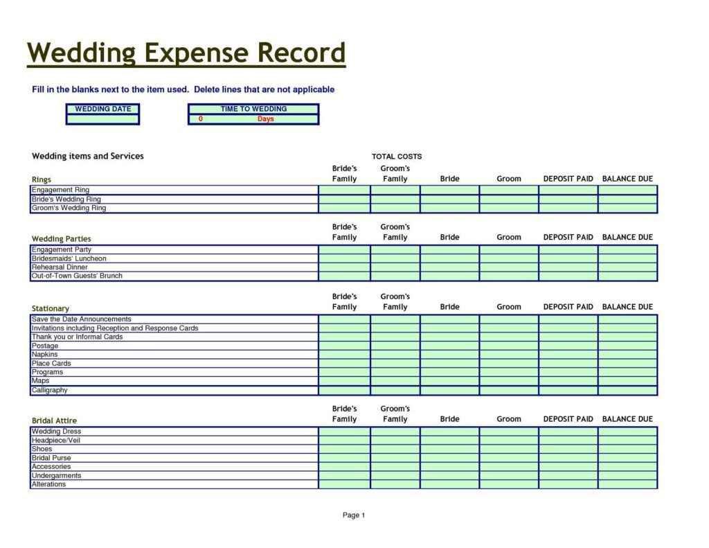 Wedding Budget Spreadsheet Excel1