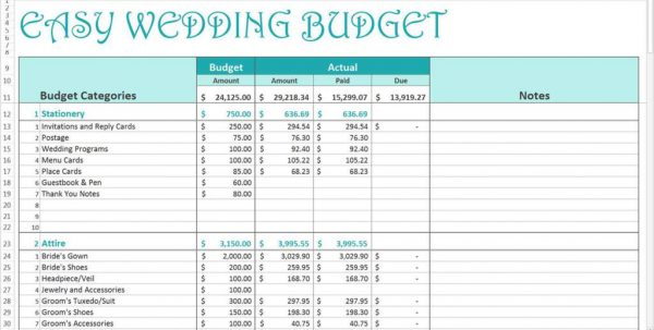 Wedding Budget Spreadsheet Google