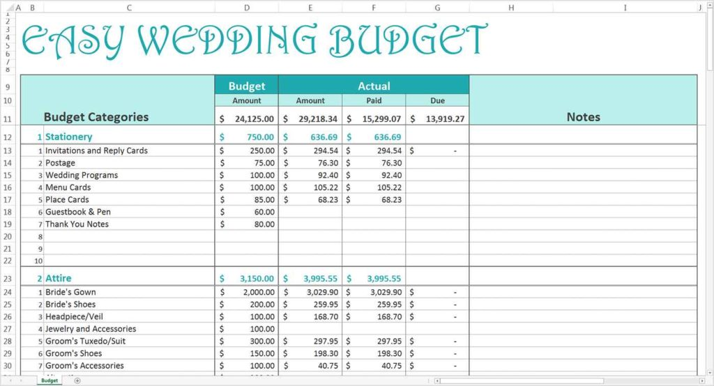 wedding budget templates