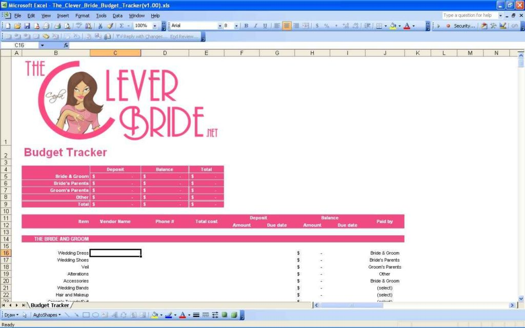 Wedding Budget Spreadsheet Template Excel