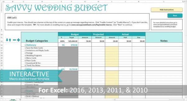 Wedding Expense Spreadsheet