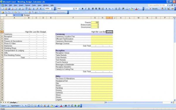 Wedding Expenses List Spreadsheet