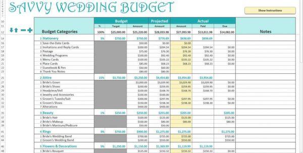 Wedding Expenses Spreadsheet