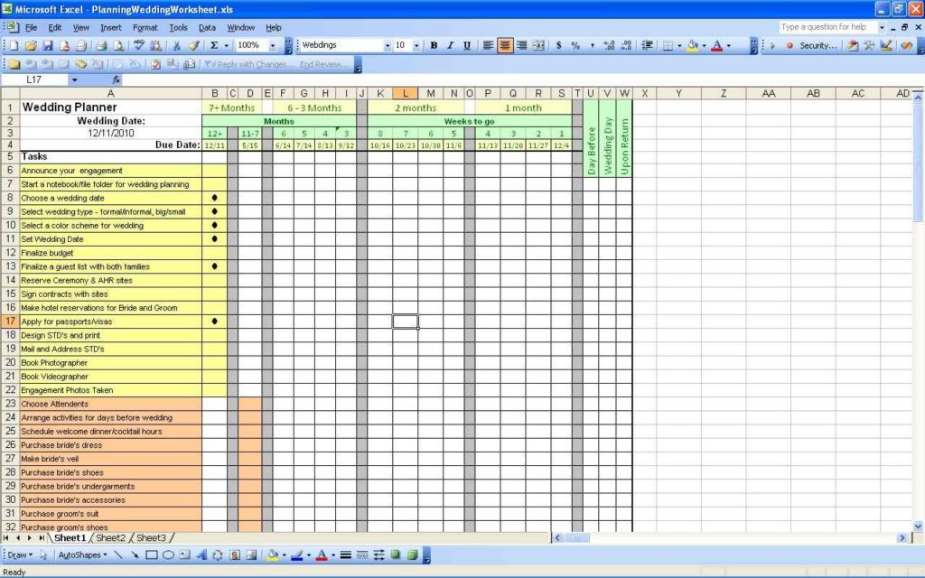 Wedding Guest List Spreadsheet Download