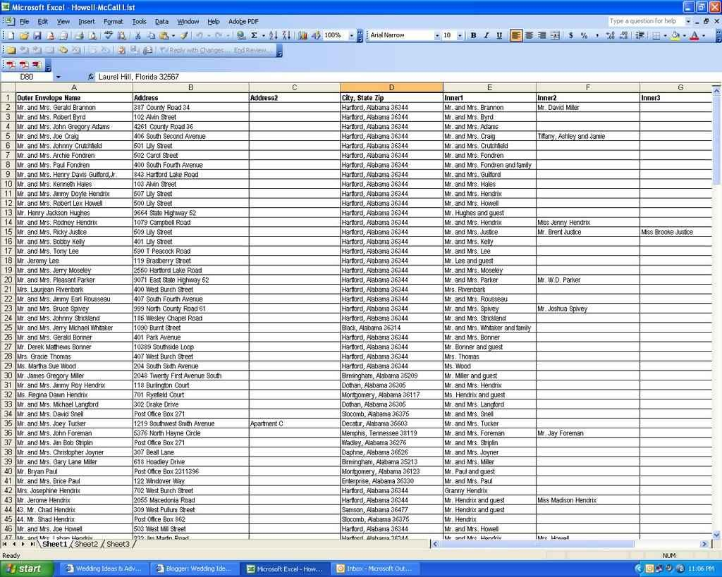 Wedding Guest Spreadsheet Free