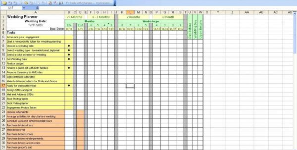 Wedding Guest Spreadsheet Template