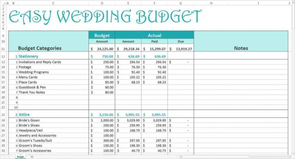 Wedding Planning Excel Spreadsheets