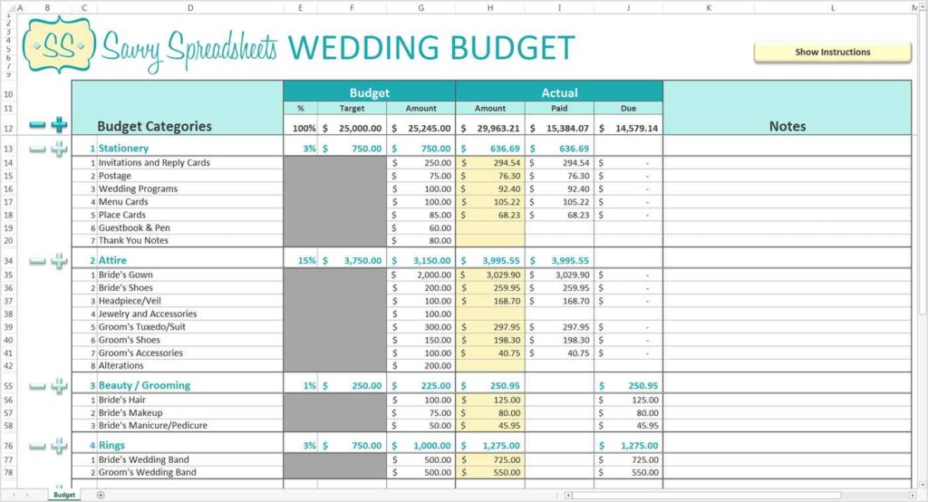 wedding planning spreadsheet template wedding spreadsheet