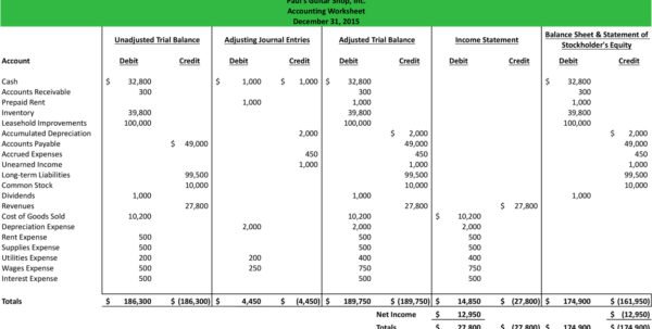 Blank Accounting Worksheets Excel