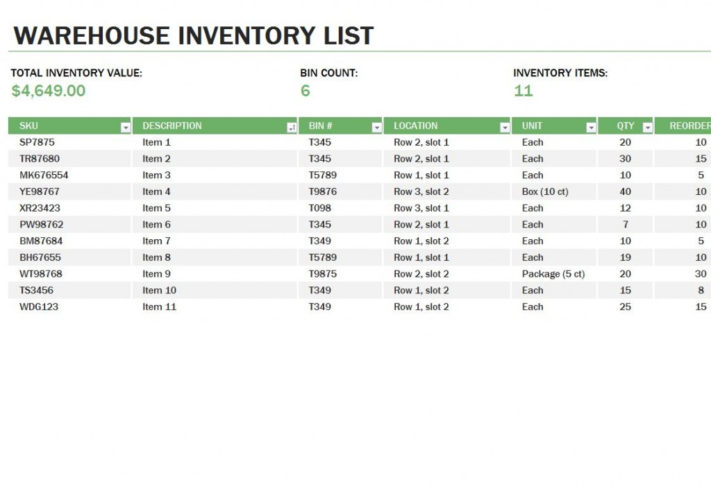Excel Inventory Tracking Template
