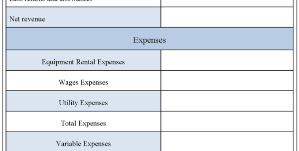Free Excel Income Statement Template